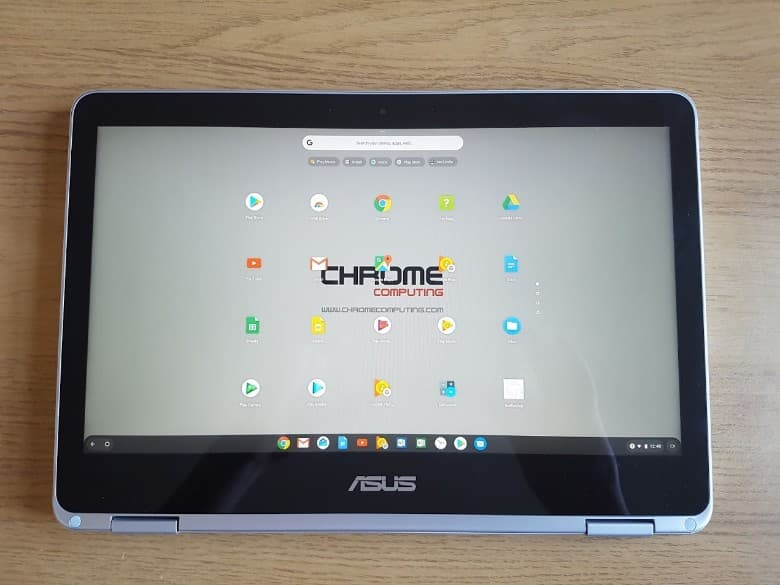 A hybrid chromebook in tablet mode