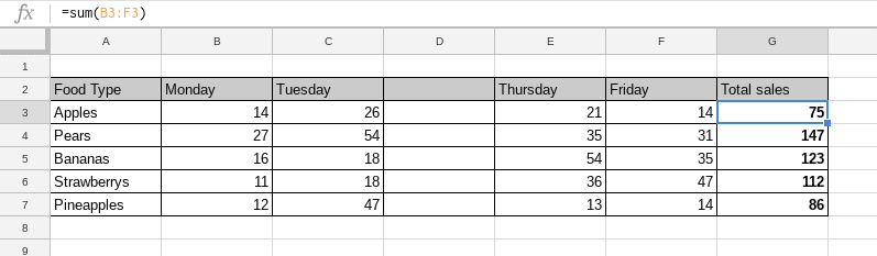 a column added between columns in google sheets