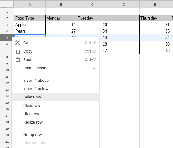 how to delete a row in google sheets