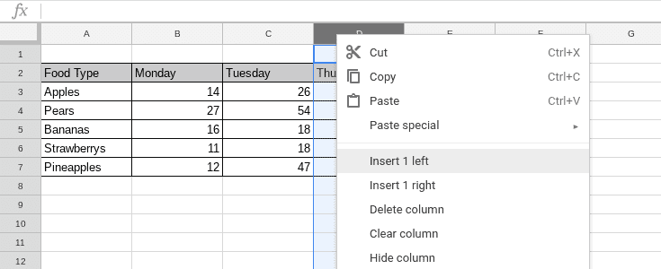 Adding a row in google sheets by right clicking