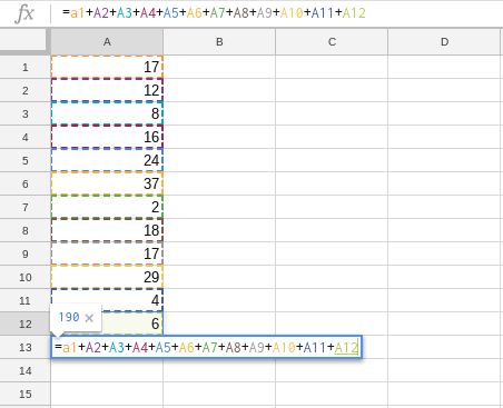 how to add numbers in Google Sheets