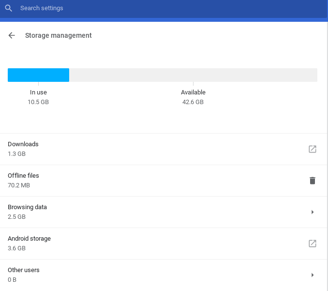 Chromebook storage management