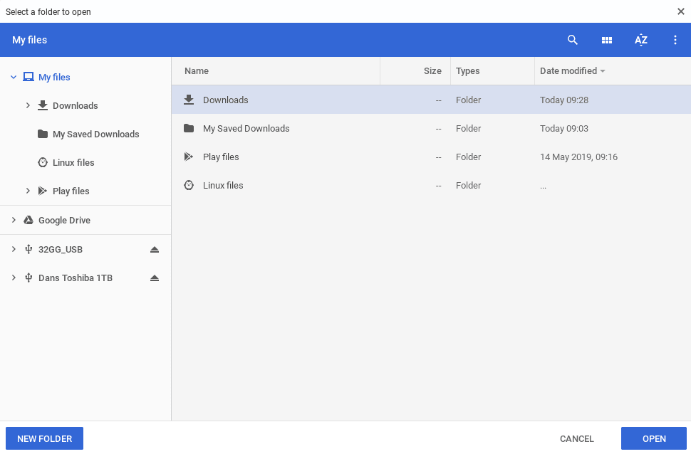 Choose your new Chromebook downloads folder
