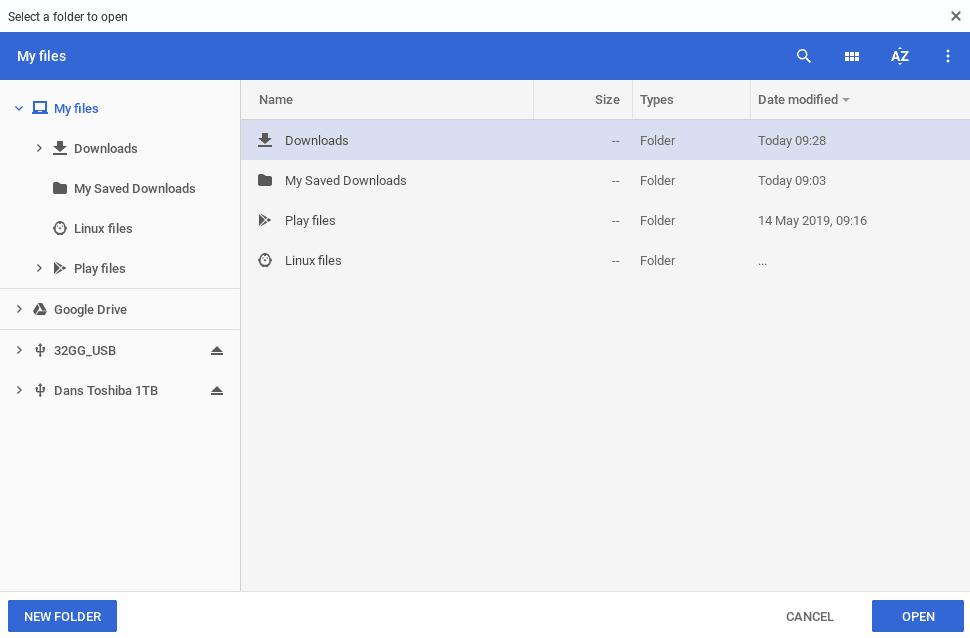 Choose your new Chromebook downloads folder