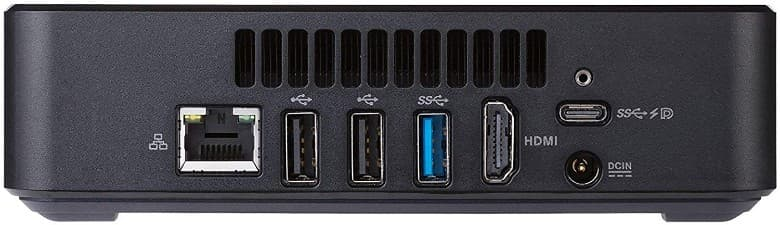 The back of the Asus Chromebox 3 has a USB 3.1 two older USB ports, Type-C connection and HDMI