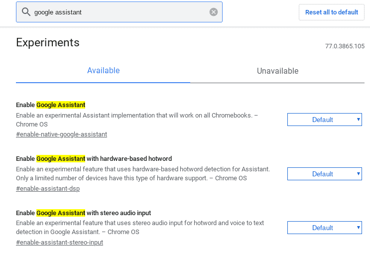 Change the drop down choice to enabled against Enable Google Assistant