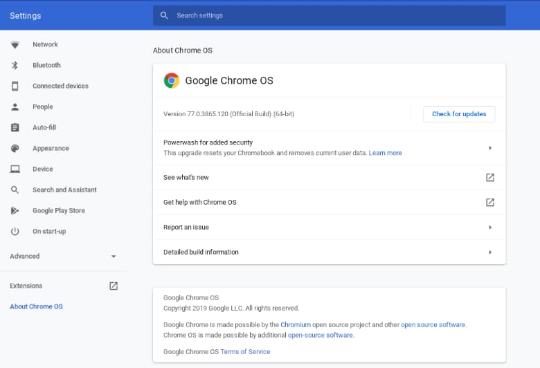 AUE date will show in Chrome OS settings