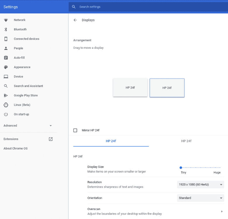 The Chrome OS settings for adding two displays to your Chromebox