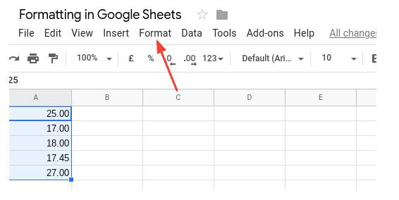 The format menu in Google Sheets