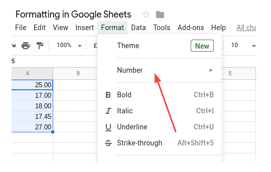 How to select the number menu in Google Sheets