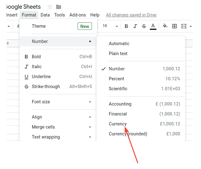How to change selected cells to a currency in Google Sheets