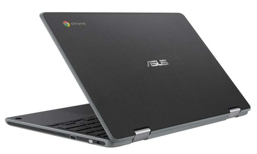 The textured lid of the Asus C214 Chromebook