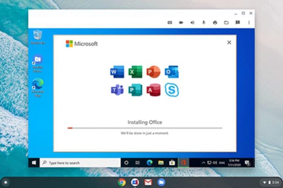 Parallels running Microsoft Windows on Chrome OS