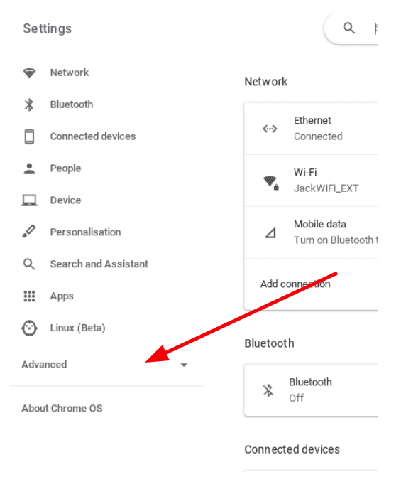 left click on the advanced menu on the left of your Chromebook settings