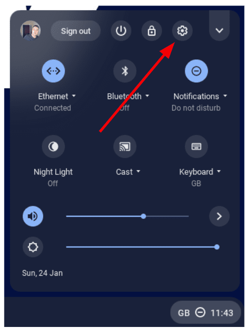 Left click on the settings cog to reach your Chromebook settings menu