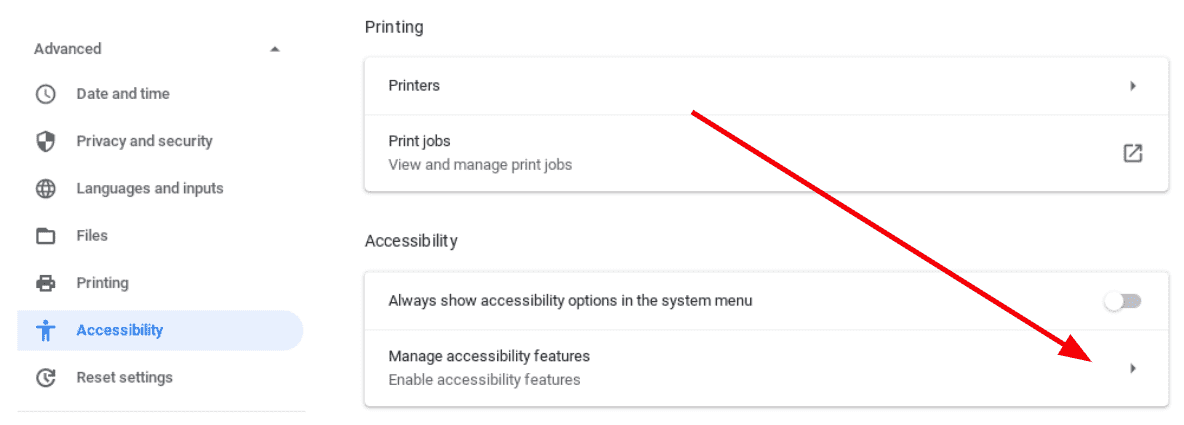 manage accessibility features menu on your Chromebook