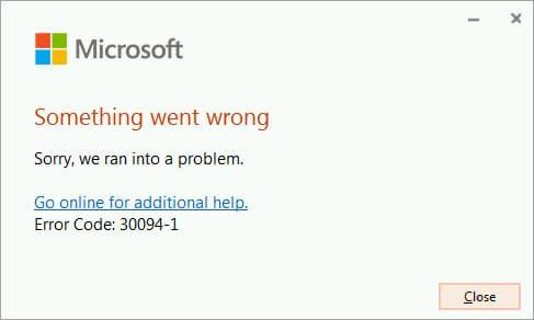 Microsoft Windows error message