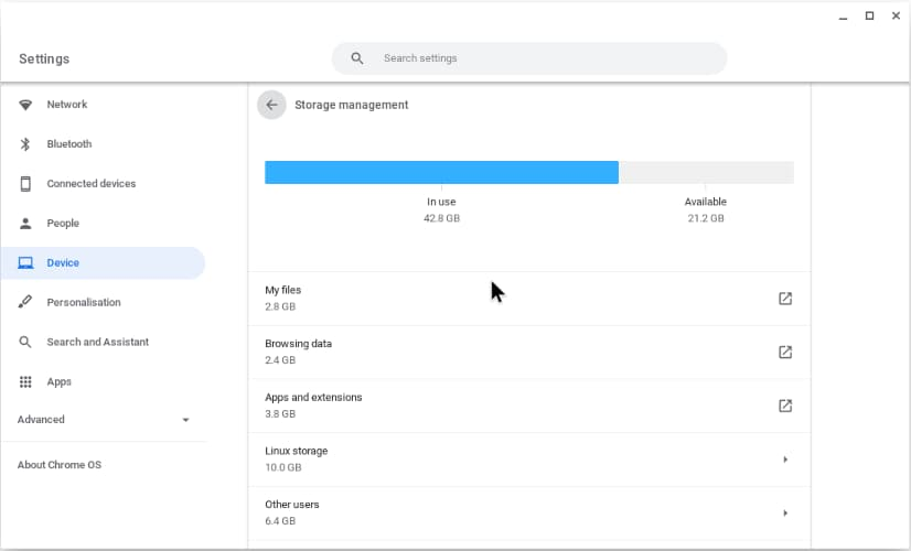 Storage space used on my Chrome OS computer