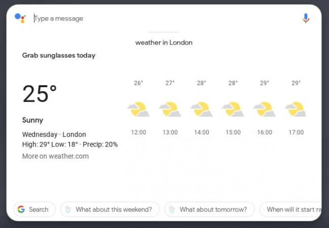 Weather analysis from Google Assistant on Chrome OS